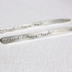hand stamped with your custom message, these sterling silver collar stays are the perfect gift for the guy who has everything. the standard stay. Gifts For Hubby, Gifts For Him, Custom Jewelry, Unique Jewelry, Collar Stays, Perfect Gift For Him, Father Of The Bride, Silver Man, Groomsman Gifts