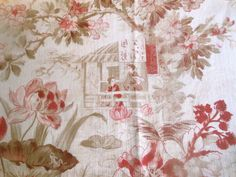 Antique French Chinoiserie Floral Water Lily Frog Cotton Fabric ~Pink Wine Sage