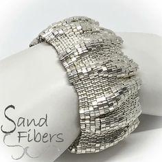 Large Silver Ripples Peyote Cuff / Peyote Bracelet 2457  A