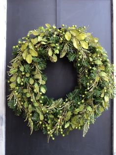 Modern Chartreuse Christmas Wreath. .