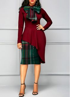 Bowknot Neck Long Sleeve Wine Red Patchwork Dress | Rosewe.com - USD $27.75 African Fashion Dresses, African Dress, Fashion Outfits, Cheap Fashion, Fashion Clothes, High Fashion, Tight Dresses, Dresses For Work, Sexy Dresses