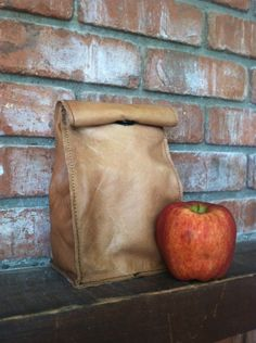 Leather lunch bag, lunch sack, leather paper bag, BACK to SCHOOL, Leat | marblehill - Bags & Purses on ArtFire
