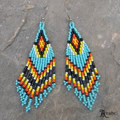 Native American Seed Bead Patterns | Turquoise Native American Style Long Seed Bead Earrings - beaded ...