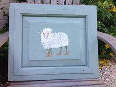 CHARMING original artwork painted SHEEP on ANTIQUE vintage cupboard door baby gift Two Whimsies on Etsy, $80.00