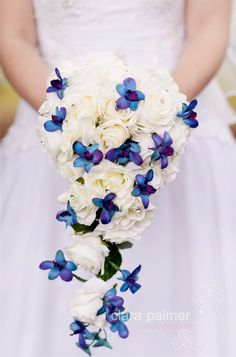 Wedding Bouquet Flowers Blue Purple White Clara Palmer Photographer Brisbane Wedding Photographer