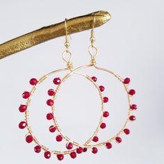 Red Earrings. Hoops Earrings.