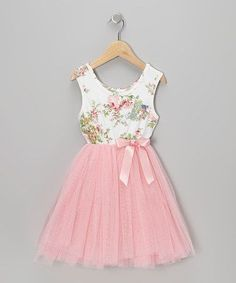 someone i know that has a little girl. Take a look at this Pink Floral Tulle A-Line Dress - Infant, Toddler & Girls by Designer Kidz on today! Little Girl Fashion, Little Girl Dresses, Toddler Fashion, Fashion Kids, Girls Dresses, Flower Girl Dresses, Baby Dresses, Dress Girl, Flower Girls