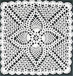 Crochet Squares Granny Patterns Square Pineapple Doily - All of us love crochet doilies and more so if they are pineapple crochet doily patterns and that too free, have a look here and start one today Free Crochet Square, Free Crochet Doily Patterns, Crochet Motifs, Granny Square Crochet Pattern, Crochet Blocks, Crochet Squares, Thread Crochet, Crochet Granny, Filet Crochet