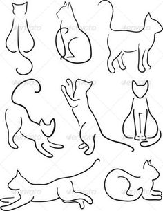 cat jumping drawing | art, black, cat, clip, collection, contour, design…