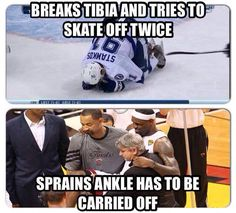 Hockey players are the toughest athletes on the planet.  Hands down!