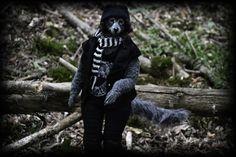 """Unique Art Handmade Doll Wolf Anthropomorphic Ville Rockmusiker OOAK Artist Wolf. 13,7 inch (35 cm) by Art Dolls """"Gothic Forest"""" Fantasy-dolls-Zlata"""