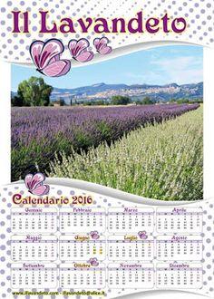 Calendario 2016 annuale e mensile da stampare con il paesaggio di Assisi e i campi di lavanda Scarica gratis download PDF (Il lavandeto di Assisi Vivaio e Giardino della lavanda. Vendita piante aromatiche e prodotti alla lavanda)