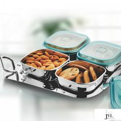 JVL I-Designer Bowl Set, 4-Pieces With Tray Buy Kitchen, Kitchen Items, Kitchen Utensils, Kitchen Appliances, Kitchen Storage Containers, Kitchenware, Tableware, Storage Sets, Bowl Designs