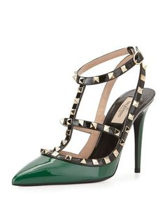 Rockstud Patent Leather Pump, Emerald Colorblock by Valentino at Neiman Marcus.