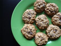 healthy oatmeal raisin cookies - subbed coconut oil and mashed bananas for butter, did half coconut crystals, half maple syrup. No nuts. H-loved them! Came out awesome- chewy & delicious!!!