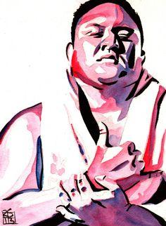 "Samoa Joe - Ink and watercolor on 9"" x 12"" watercolor paper"