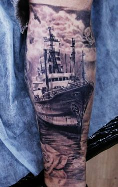 Black and grey ship by Ivan Yug #InkedMagazine #Inked #ship #tattoo #tattoos #Ink #boat #nautical