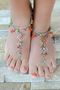 Silver Mutli Colored Beaded Beach Barefoot Sandals