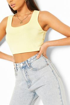 Womens Thick Strap Square Neck Crop Top - yellow - 2 - Steal the style top spot in a statement separate from the tops collection Camis or crops, bandeaus or bralets, we've got all the trend-setting tops so you can stay statement in separates this season. Hit refresh on your jersey basics with pastel hues and pick a quirky kimono to give your ensemble that Eastern-inspired edge. Off the shoulder styles are oh-so-sweet, with slogans making your tee a talking point. Girls Fashion Clothes, Girl Fashion, Fashion Outfits, Cheap Crop Tops, Latest Tops, Fashion Face Mask, Cropped Tank Top, Cute Outfits, Girl Outfits