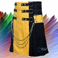 """Men/'s Gothic Chain Style Canvas Utility kilt Sizes /""""32 to 50 /"""""""