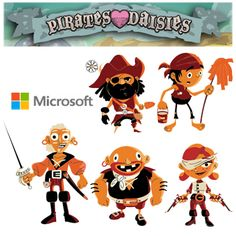 """PulpStudios.ca created character design, illustration and animation used for the Microsoft game """"Pirates Love Daisies."""" It was a computer game created to demonstrate the new HTML5 technology. Pirates Love Daisies was released in December 2010."""