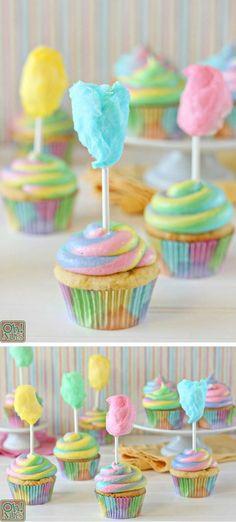 Cotton Candy Cupcakes |  #candy #Cotton #cupcakes