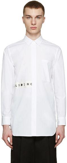 D by D - White Printed Grosgrain Shirt