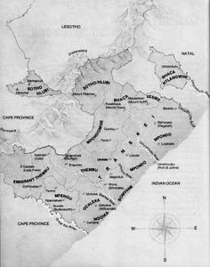 South Africa || Transkei map showing the locations of Thembu, Mfengu, Gcaleka, Ngqika, Bomvane, Mpondo, Mpondomise, Sotho, Hlubi, Bhaca and Xesibe - Xhosa related clans.