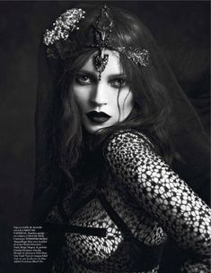 Katy England styles 'Noir Partie 3', another drop dead editorial starring Kate Moss and Saskia de Brauw, lensed in Smart Sensuality gothic finery by Mert & Marcus for the being reborn Vogue Paris September issue.