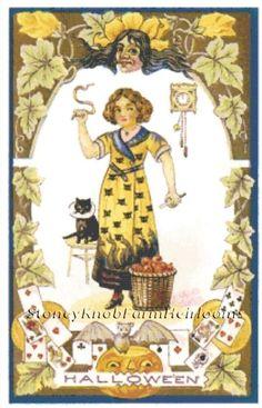Witch & Cat ~ Vintage Halloween ~ Counted Cross Stitch Pattern #StoneyKnobFarmHeirlooms #CountedCrossStitch
