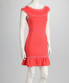 Take a look at this Orange Boat Neck Dress on zulily today!