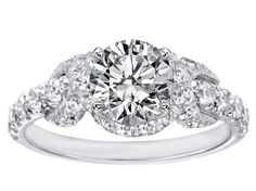 Engagement Ring - Infinity Halo Diamond Engagement ring in 14K White Gold - ES1197