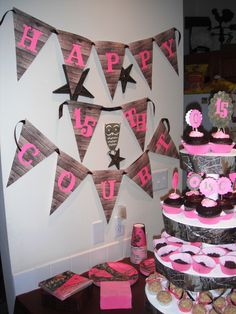Pink Mossy Oak Camo Birthday - Let's Party Creations 2011 Camouflage Party, Pink Camo Party, Camo Birthday, 4th Birthday Parties, 16th Birthday, Girl Birthday, Birthday Ideas, Country Birthday, Sweet 16 Themes