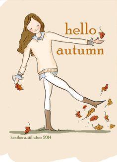 Hello Autumn Art for Women Wall Art Art by RoseHillDesignStudio