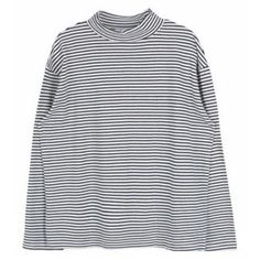 Striped High Neck Top (267.940 IDR) ❤ liked on Polyvore featuring tops, sweaters, striped pullover sweater, stripe top, sweater pullover, striped top and high neck top