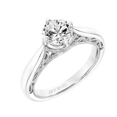 New for our Spring collection! Gayla: Vintage Diamond Prong Set Engagement Ring with Polished Shank, Floral Filigree with Diamond Accents and Hand Milgrain Detail #artcarvedbridal #spring #whitegold #engagementring
