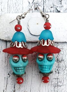 Red and Blue Sugar Skull Day Of The Dead    by Secret Stash Boutique  www.etsy.com/shop/secretstashboutique