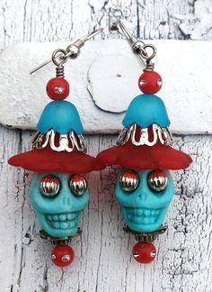 Red and Blue Sugar Skull Day Of The Dead    by Secret Stash Boutique  www.etsy.com/shop/secretstashboutique