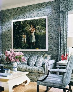 Mark Hampton design for Aerin Lauder in the Hamptons Decor, Blue White Decor, Home Interior Design, Interior Inspiration, Blue And White, Beautiful Interiors, Interior Design, Hamptons Designs, Interior Design Photos