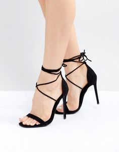 Missguided Lace Up Barely There Heeled Sandals. These heels are super cute, fashionable, and great for any formal occasion. On top of that, they're on sale so if you're looking to add some variety to your wardrobe, they're a steal. Black High Heel Sandals, Lace Up High Heels, Sexy Legs And Heels, Strappy Sandals Heels, Lace Up Sandals, Open Toe Sandals, Strap Sandals, Black Heels, Stiletto Heels