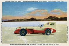 """A linen postcard commemorating the Mormon Meteor, a race car driven by A.B. Jenkins and billed as """"the ultimate speed record maker, Bonneville Salt Flats, Utah."""" """"Holding all speed records from 10 mil"""