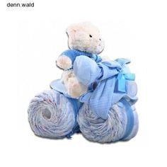 Boys Diaper Cake Teddy Bear Tricycle Baby Blanket Bear Bottle Shower Gift Blue #AlderCreekGiftBaskets