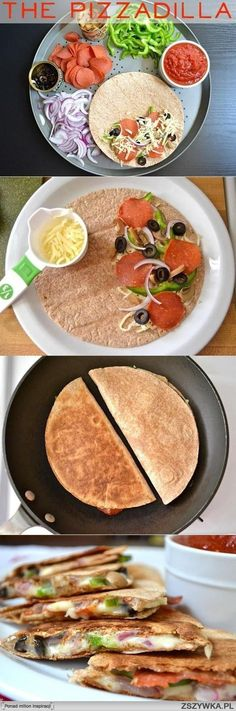 Make them without pepperoni for a vegetarian alternative! Pizzadillas - healthy pizza - of course using wheat, low-cal tortillas and only using portion-controlled, reduced fat cheese. turkey pepperoni as well. I Love Food, Good Food, Yummy Food, Yummy Recipes, Fun Food, Dessert Recipes, Food For Thought, Healthy Snacks, Healthy Eating