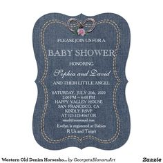 Baby Shower Ideas Denim And Diamonds Invitations Unique Western Old Horseshoes Baby Shower Invite Of Denim Baby Shower Denim Baby Shower, Pearl Baby Shower, Unique Baby Shower, Baby Shower Diapers, Baby Boy Shower, Baby Shower Parties, Baby Shower Themes, Shower Ideas, Diamond Party