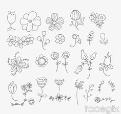 26 design hand-painted flowers vector