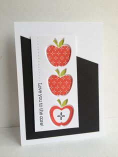 """Love the way Lisa inset the apples in the negative die cut. Also, clever tip of cutting """"seeds"""" out of apple core so they can be stamped seperately."""