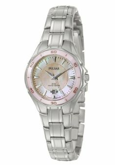 Pulsar Women's PXT899 Dress Sport Watch Pulsar. $79.00. Date calendar. Hardlex crystal. Mother-of-Pearl dial. Silver-tone. Water-resistant to 50 M (165 feet). Pink ceramic bezel. Save 52%!
