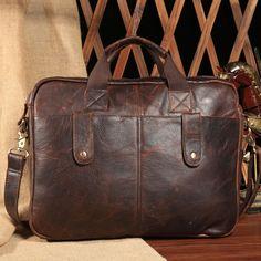Men Crazy Horse Leather Travel 14'' Laptop Briefcase Portable Handbag Messenger  #Unbranded #BriefcaseAttache