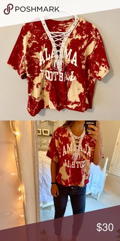 7b7d2c26 University of Alabama Retro Cropped Top Super fun game day top! Hand dyed Alabama  T