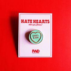 Can't Even – Hate Hearts Enamel Pin Portrait Illustration, Hand Illustration, Cupcake Garland, Pom Pom Cupcakes, Graffiti I, Irish Singers, Windy Day, Lovers Art, Wall Design
